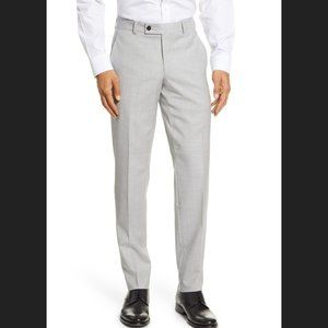 TED BAKER Jerome Flat Front Solid Wool Dress Pants In Grey Size 33R